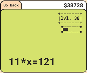 """This is a screenshot from my game, """"One By One"""" in which a multiplication algebra problem was generated."""