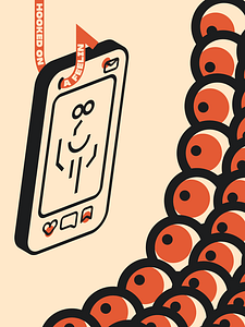 """This poster is a social commentary on the feeling of receiving affirmation on social media platforms. The phone is hanging just out of distance from a hook called """"Hooked on a Feelin."""" Teasing with the like button, bookmark, and inbox being pinged with notification. All the eyes stare at the screen showing an abstract figure of a person as their attention is glued due to the dopamine they feel from the likes."""