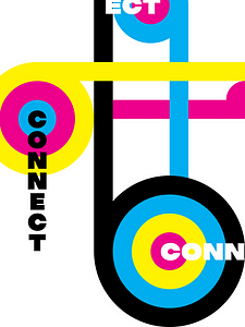 This is one of the first pieces made to explore the pure colors of CMYK. I decided to use the word connect to follow the imagery of the various lines intersecting each other.