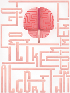 """This a piece that I started off in Adobe Illustrator and continued in Procreate to add texture. This composition features the words, """"Algorithm,"""" """"Comment,"""" """"Like,"""" and """"Follow"""" with a brain-centered in the upper right. This piece is a commentary on how our brains are becoming more and more connected to social media platforms and one day might be inseparable."""