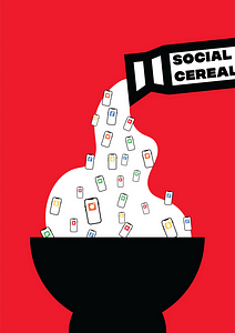This is a social commentary on how social media has infiltrated many people's lives. It has become a staple in the morning rountine of many where they scroll through social media while they eat breakfast. It also touches on the idea of how social media feeds you posts and information to keep your attention.