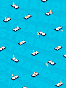 Crafted with Adobe Illustrator, Stranded is a isometric scene of a person stranded in the vast ocean with nothing but their phone. Social media can create an environment where individuals can feel isolated from the physical world.